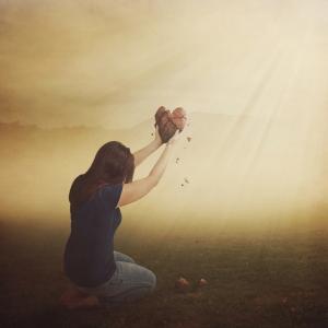 Woman with broken heart.